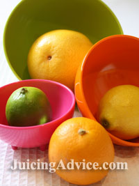 Citrus fruits for use with a manual citrus juicer.