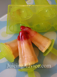 Juice lollipops made from a juicing recipes.