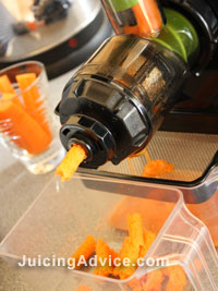 photo of a masticating juicer making carrot juice