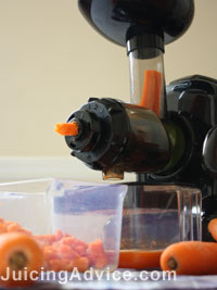 Juicing carrots in my juicer
