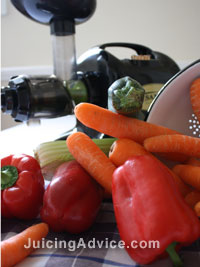 Juicing colourful fruit and vegetables for a healthy heart.