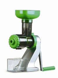 A manual wheatgrass juicer