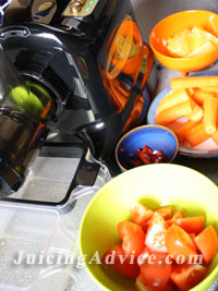Fruit and vegetables ready for a healthy juicing recipe.