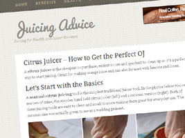 screengrab of new juicing website